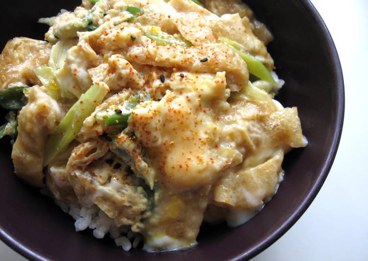 Abura-age (Thin Fried Tofu) & Egg Rice Bowl
