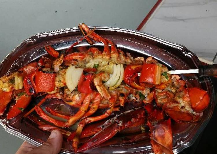 Grilled Lobster and Shrimp Kabob