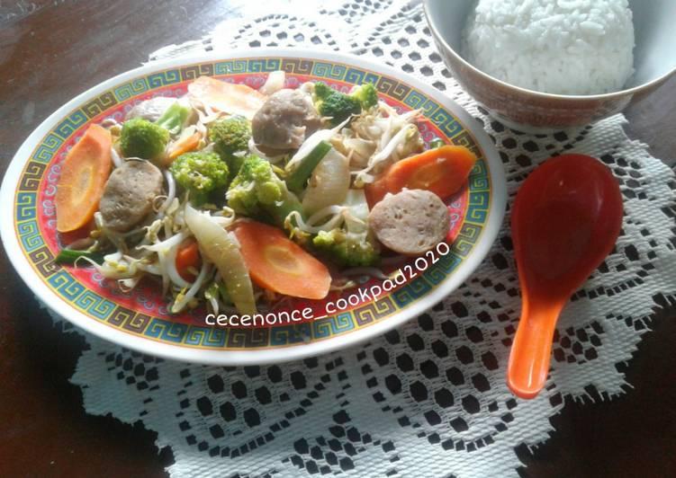 Tumis Brokoli Wortel Toge +Bakso