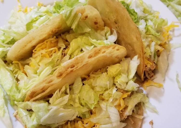 Crockpot Chicken Tacos in a Crispy Shell
