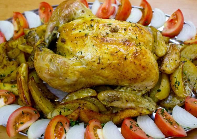 Receta fácil: Delicioso Pollo asado en bolsa con patatas al horno