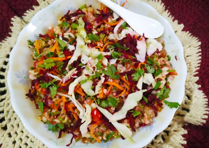 Healthy broken wheat and pulses salad