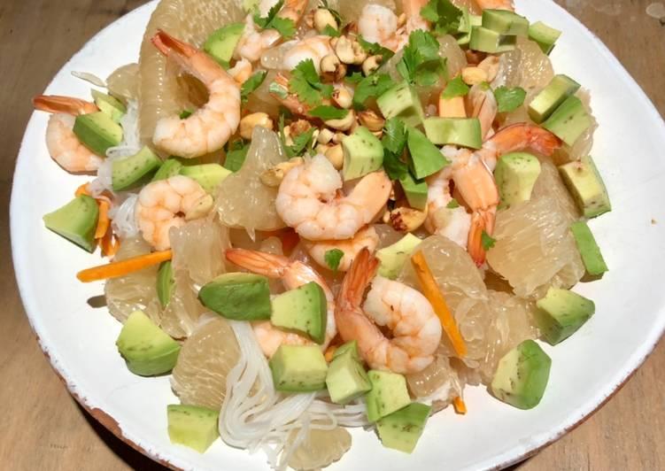 Salade Thaï aux vermicelles de riz, pomelo et crevettes
