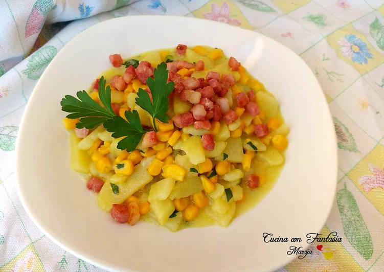 Recipe: Yummy Minestra di patate, mais e pancetta croccante