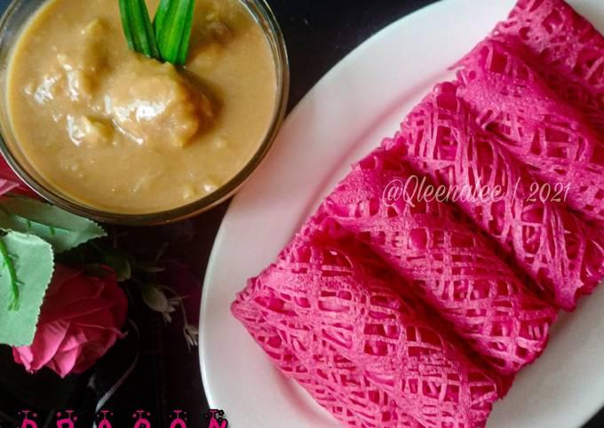 Roti Jala Dragon Fruit cicah Kuah Durian😋💕