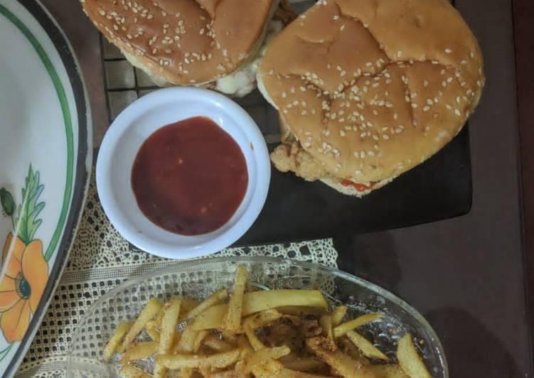Recipe: Yummy Zinger Burger 💖💖#CookpadRamadan #RamadanSpecial