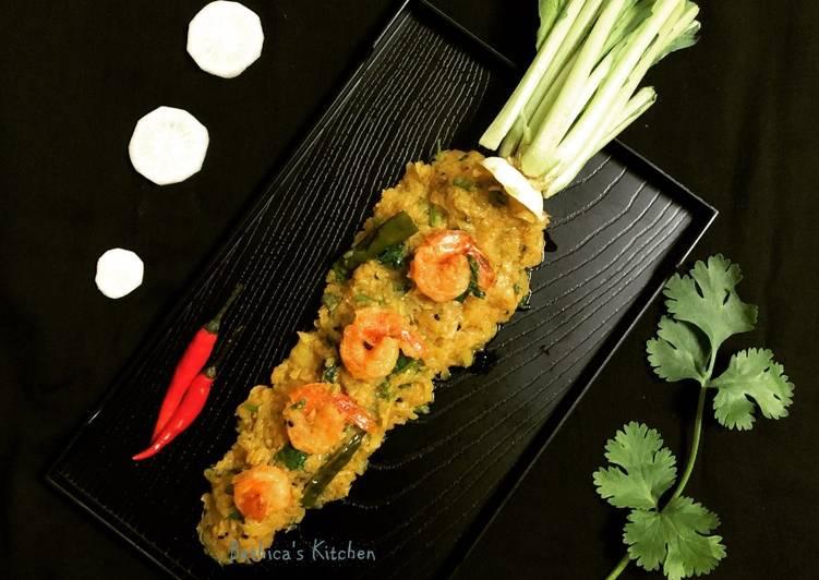 30 Minute Recipe of Fall Mulo Chingri Chechki Radish Prawn Stir Fry Bengali style