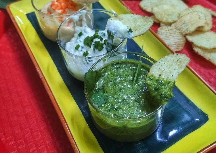 Foods That Make Your Mood Better Curd onion dip,mayonnaise garlic dip and garlic leaf vinegar dip