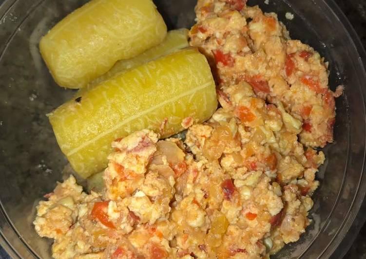 Boiled Plantain and Scrambled egg