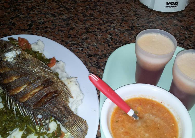 Ugali, Kales, Fried Fish, and Carrot chatni