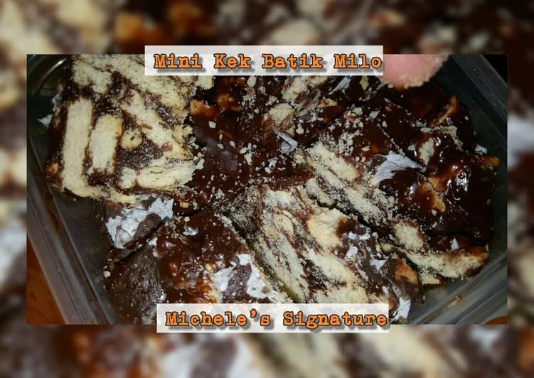 Resepi:  Mini Kek Batik Milo  Enak