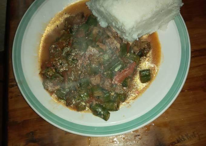 Beef okra and ugali