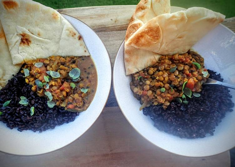Simple Way to  Spicy Indian Lentil Curry with Midnight Rice