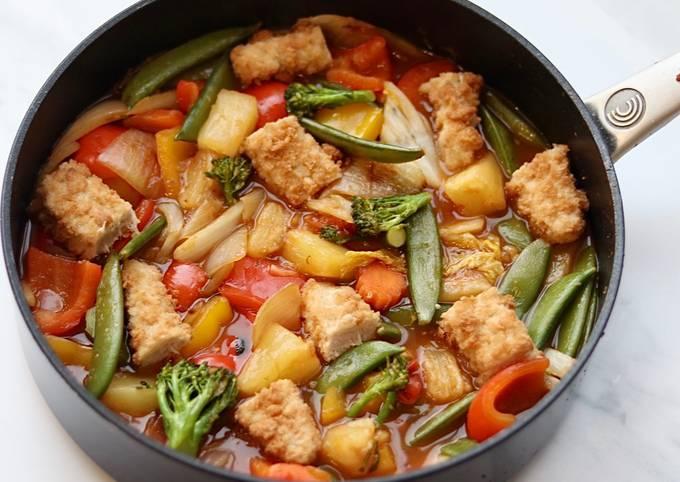 Raid the fridge - sweet and sour vegetable fish fingers