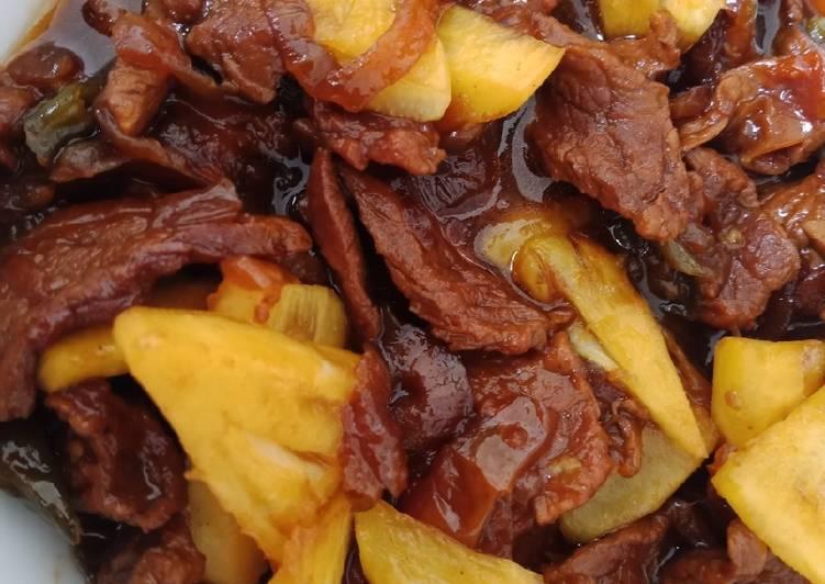 Cara Gampang Membuat Beef Nanas Teriyaki Ala-ala, Sempurna