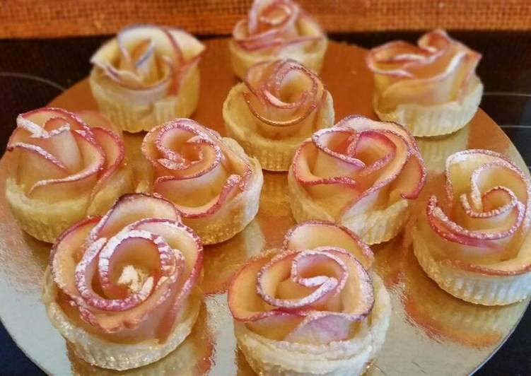 Rosas de hojaldre y manzana