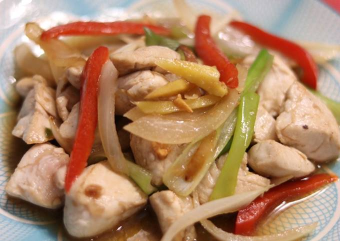 Stir Fry Chicken with ginger and oyster sauce 🌶
