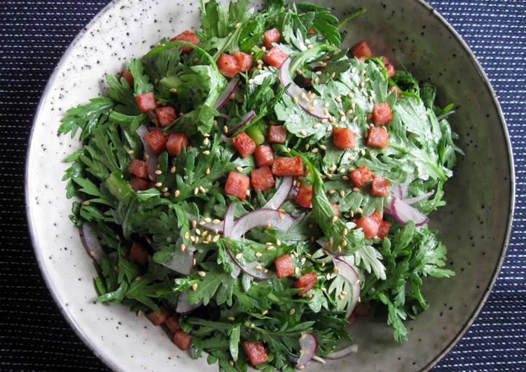 Easiest Way to Make Homemade Shungiku (Edible Chrysanthemum) Ponzu Salad