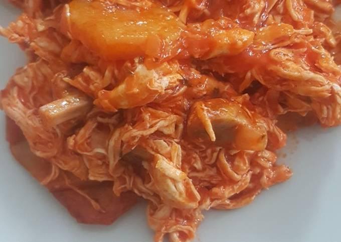 Ropa Vieja De Pollo Con Sofrito De Tomate Receta De La Cocina Del Saco Cookpad