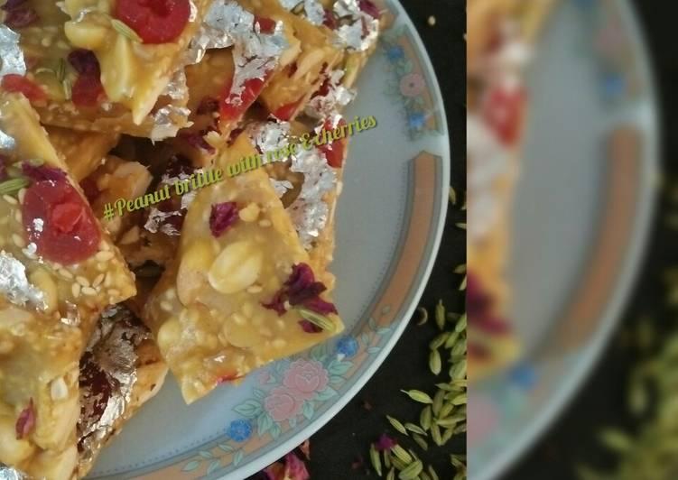 Peanut brittle with rose &cherries
