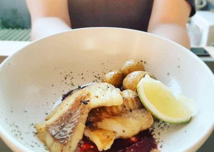 Cod fish beet sauce