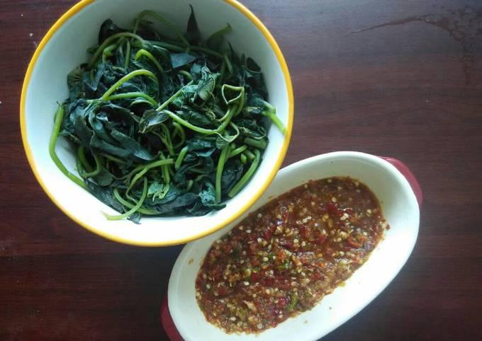 Cara Mudah Memasak daun ubi rebus sambal bawang merah…