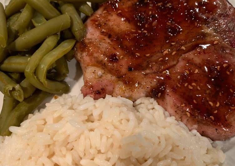 Recipe of Perfect Grilled Pork Chop with a Raspberry Chipotle Sauce