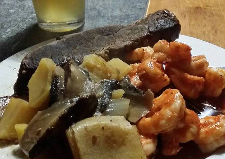 Recipe of Homemade Perfect Brad's whiskey braised tri tip and chili lime prawns