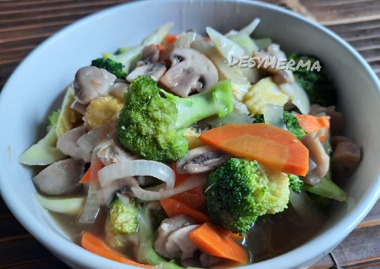 Capcay brokoli jamur kancing simple