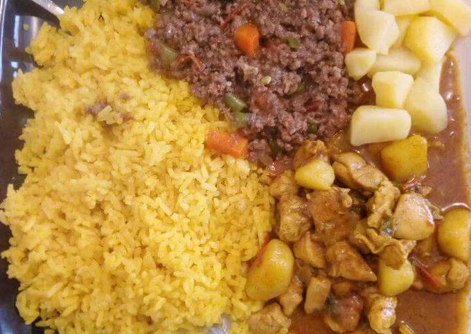 Turmeric Rice, minced meat and stewed potatoes