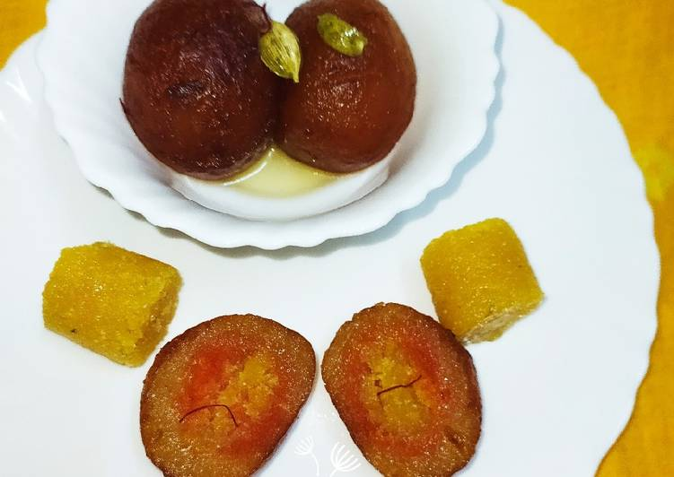 5 Minute Step-by-Step Guide to Prepare Fall Stuffed Moong dal halwa Jamun with carrot and mango puree