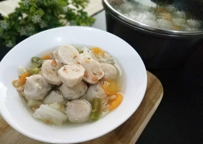 Bakso Ayam Kenyal Tanpa Baking Powder + Sayur Sop