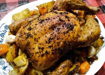 Easiest Way to Recipe Tasty One tray roast whole chicken potatoes and veg