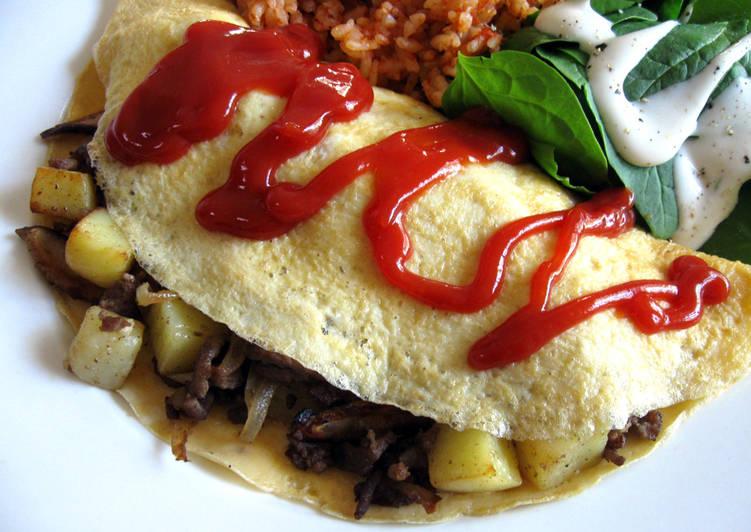 Potato & Beef Mince Omelette