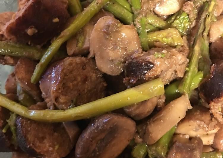 Sausage, Mushroom, Asparagus Delight