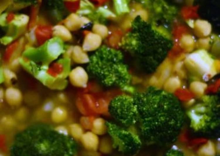 Garbanzos con brócoli, receta vegetariana y casera