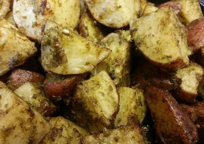 Champagne Roasted Potatoes w/ Pesto