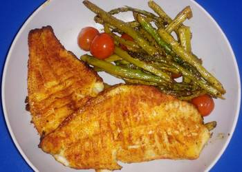 Easiest Way to Prepare Yummy Baked Catfish with Asparagus  Tomatoes