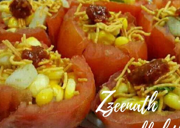 10 Minute Recipe of Fall Sweet Corn Chaat Tomato Bowls