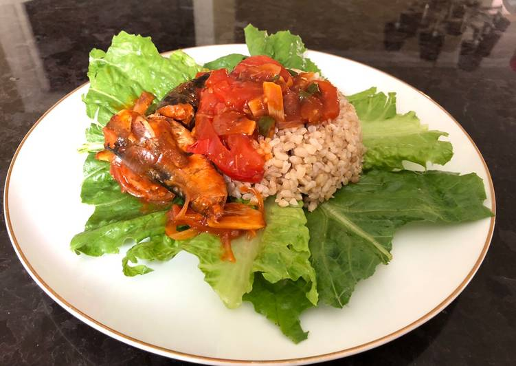 Steps to Make Award-winning Simple lunch with Recooked Sardine and Brown Rice