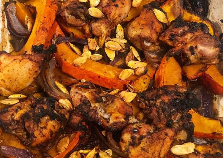 Recipe of Super Quick Homemade Tray bake pumpkin & chicken thighs topped with roast pumpkin seeds