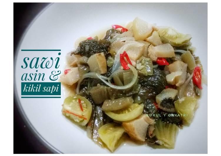Sawi asin & kikil sapi - cookandrecipe.com