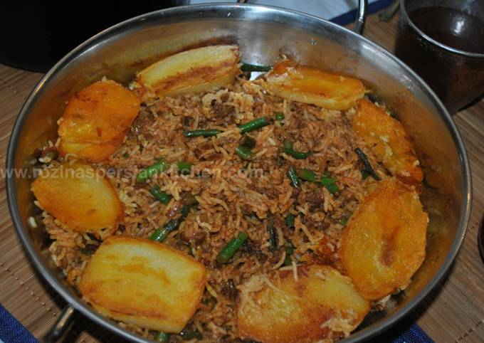 Persian Loobia Polo (Green Bean Rice With Minced Beef) لوبیا پلو با گوشت چرخ کرده