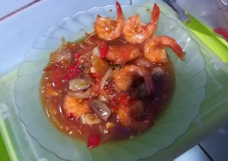 Udang Asam Manis (Simpleeeee) - cookandrecipe.com