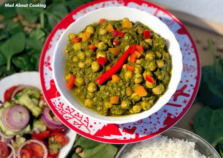 Simple Way to Make Speedy Chole Palak Curry Chickpea Spinach Curry Lunch Dinner Recipe