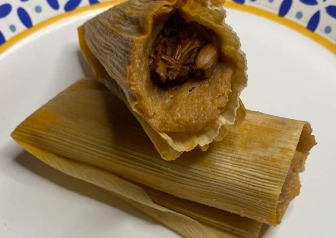 Vegan Chile Colorado Jackfruit Tamales