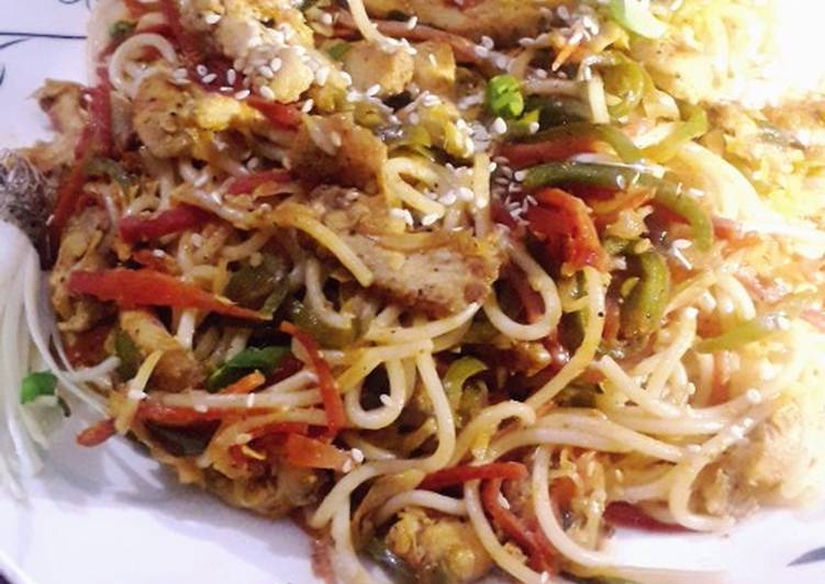 Recipe of Top-Rated Chicken manchurian spaghetti