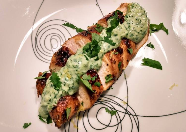 Easiest Way to Make Perfect Pan-seared chicken with cilantro dill cream