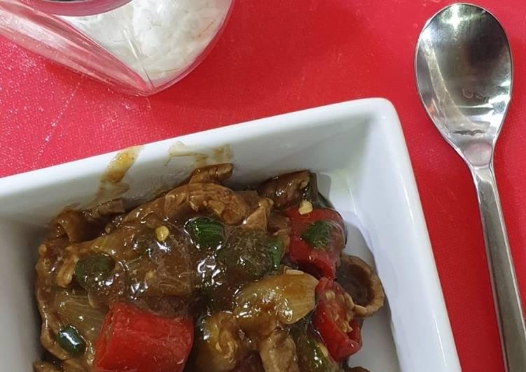 Cara mudah membuat Beef Saos Lada Hitam, Diet Version