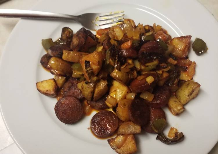 Recipe: Perfect Roasted vegetables and chorizo